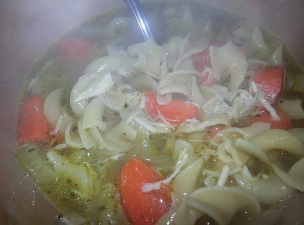 Add 12 ounces egg noodles, stir in. Continue to simmer for 10 minutes, noodles...