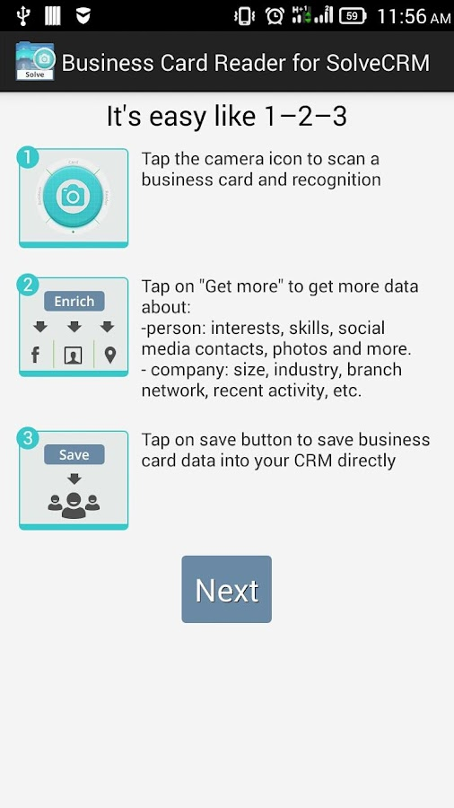 Free Business Card Reader for Solve CRM- screenshot
