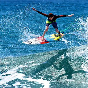 Shadow surfer by Julie Steele - Sports & Fitness Surfing ( steele, surfer, shadow, wave, air )