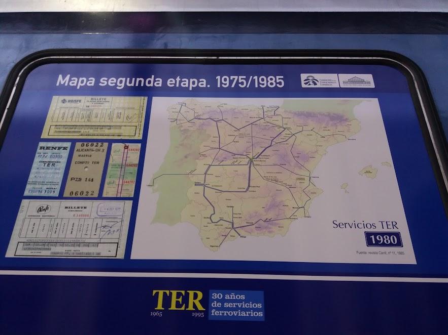 Mapa de trenes TER entre 1975 y mediados de los 80