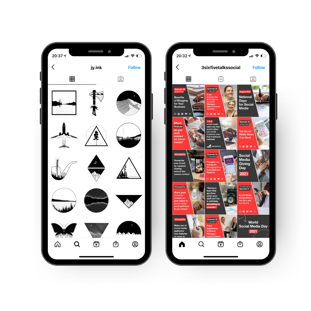 Instagram shapes grid example