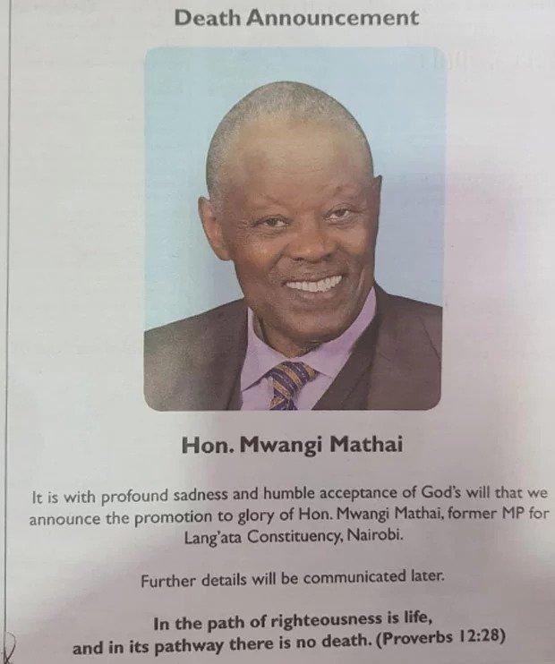 Former Lang'ata Member of Parliament Mwangi Mathai obituary./COURTESY