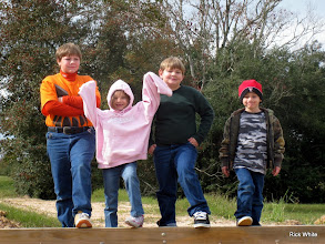 Photo: Joseph, Lizzy, Logan, and Michael on the Phase IV west bridge abutment.   2009-1127 HALS Anniversary Meet