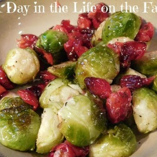 Roasted Brussels Sprouts and Cranberries.