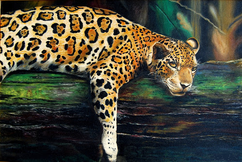The Predator at rest~ by Kwek Cheng Hau - Painting All Painting ( wild, oil painting, leopard, animal )