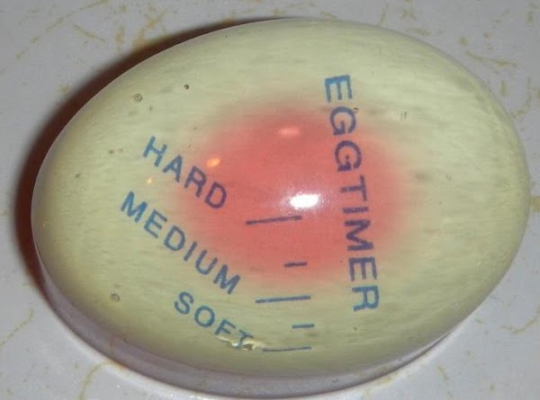 Picture of the egg timer, see it turns color.From red to white!...Amazing!!!Directions:Place the egg...