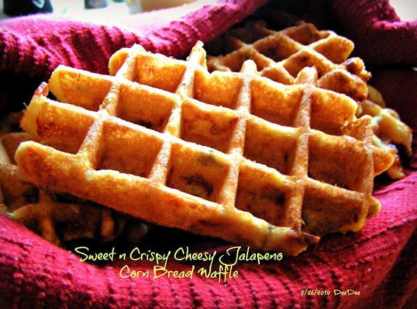 Sweet N Crispy Cheesy Jalapeno Corn Bread Waffles Recipe