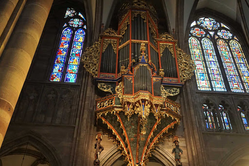 Closeup of the suspended pipe organ in Strasbourg Cathedral in France. Parts of the organ dates  to the 14th century.