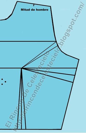 Busca el centro de ancho de hombro en corpiño delantero