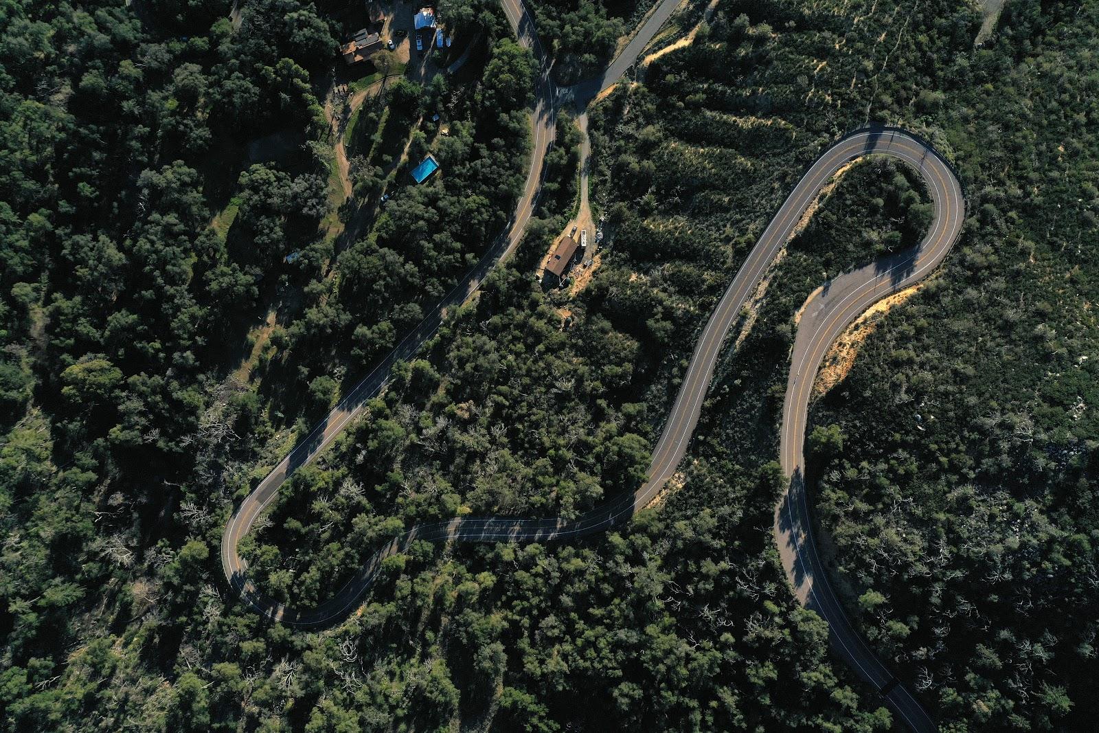 Aerial drone photo of Palomar Mountain hairpin
