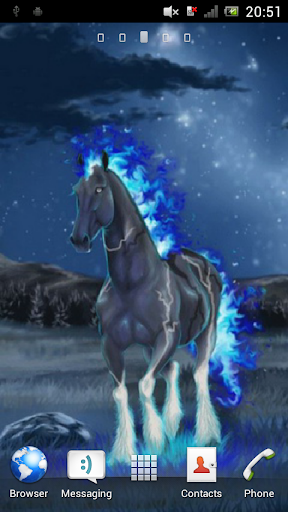 Horse with fiery mane Live WP
