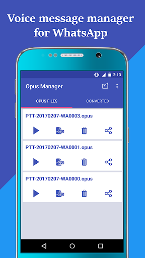 Voice & Audio Manager for WhatsApp , OPUS to MP3 4.1.4 screenshots 1