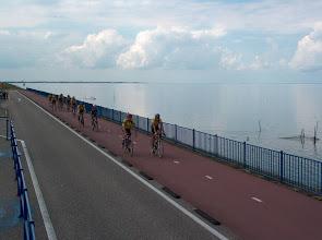 Photo: Op de heenweg via de afsluitdijk. Gelukkig was het mooi weer met niet teveel wind.