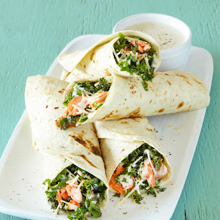 Salmon and Kale Caesar Wraps.