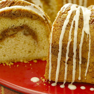 Cinnamon Streusel Cake with Irish Cream Glaze.