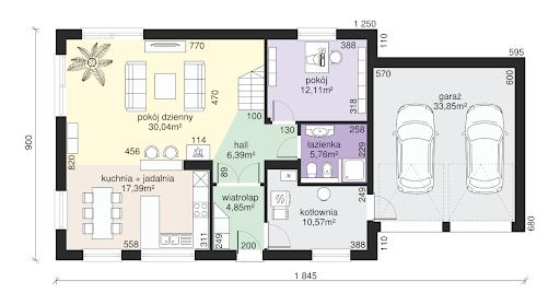 Dom przy Alabastrowej 11 - Rzut parteru