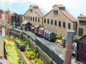 Photo: 012 Beaulieu Les Mines is a twin level layout with the town and the vicinal style railway on the lower level and the mining scene higher up, Here a Sentinel loco shunts some stock into the mine tracks .