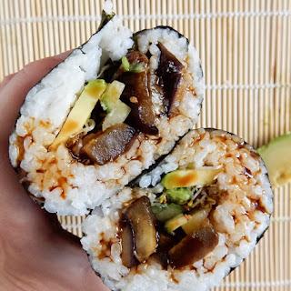 Teriyaki Eggplant Sushi Burrito