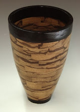 "Photo: David Jacobowitz - marblewood and wenge segmented vase - 7.5"" x 5"""