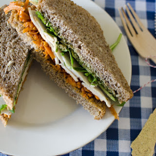 Fancy Sandwiches - Moroccan Carrot and Turkey with Green Olive Tapenade {Recipe}.