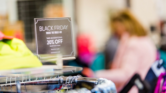 A Black Friday sales sign advertising 20 percent off