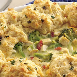Chicken and Broccoli Casserole with Cheesy Biscuit Topping.
