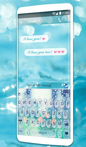 Water Keyboard -  Blue Glass Water Keyboard Theme 6.2.22.2019 screenshots 2