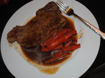Steak with Red Bell Peppers and Beef Consumme Au Jus