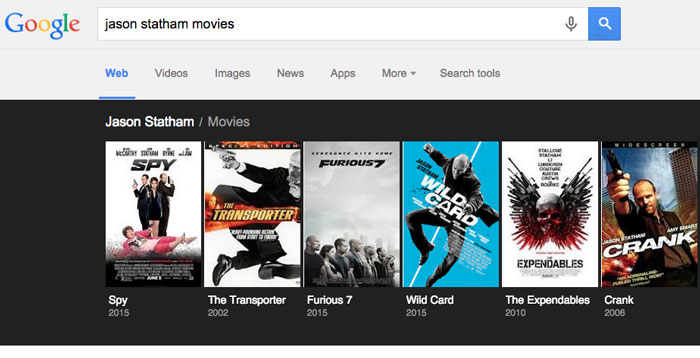 Google tips and tricks - movie list