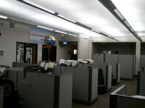 Photo: The cubicles of the news team.