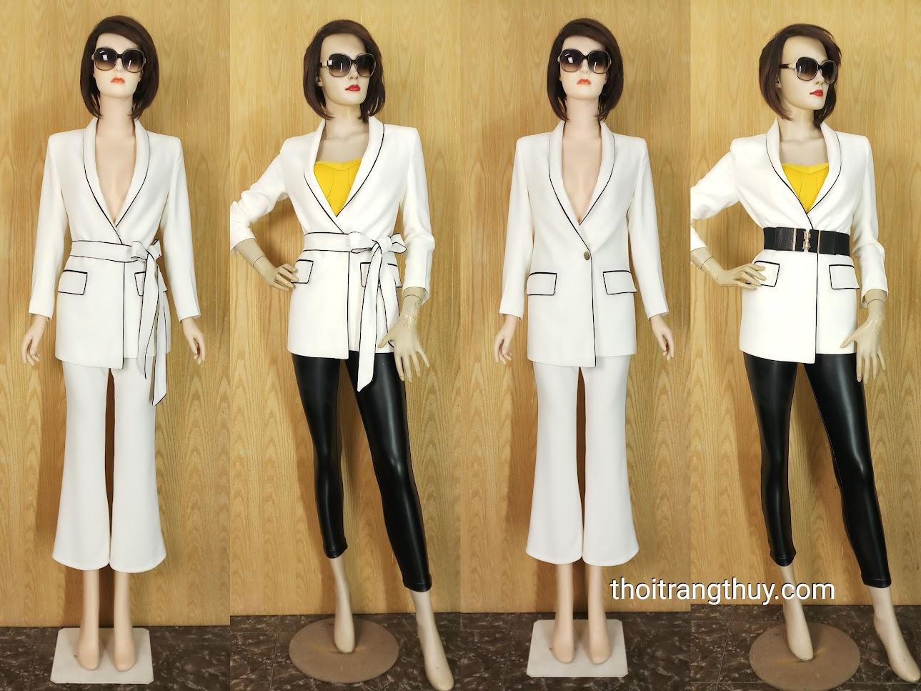 Áo blazer nữ thắt đai eo và quần ống vẩy V662 thời trang thủy