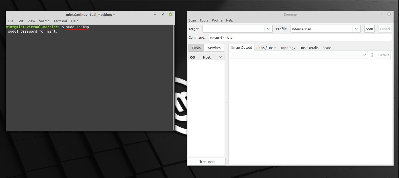 Run Zenmap in Linux Mint via CLI. Source: nudesystems.com