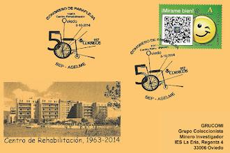 Photo: Tarjeta del Matasellos del Congreso de Paraplejia en Oviedo 2014. 50 años del Centro de Rehabilitacion.