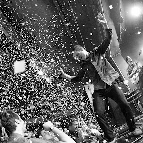 Mutemath Grand Concert Finale by T.J. Wolsos - People Musicians & Entertainers ( journalism, concert, band, mutemath, black and white, nikon )