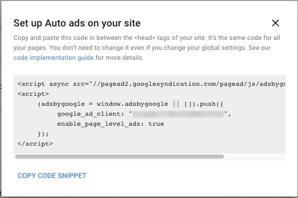 広告コードを取得してコピーする adsense ヘルプ