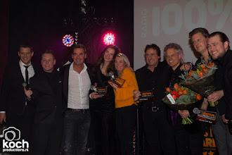 Photo: 20-02-2018: Nieuws: Uitreiking van de 100% NL Awards: Amsterdampodium met winnaars, vlnr Kees Tol, Lars Boele, Jeroen van den Boom, Maan, Miss Montreal, Marco Borsato, Blof, Koen Hansen