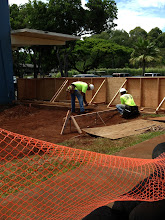 Photo: After the water line inspection, workers continued work on our custodial room and restrooms.