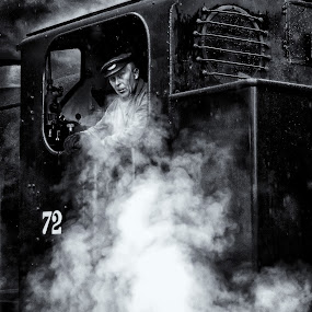 steam by Kevin Towler - Transportation Trains ( person, single, black and white, steam train, vehicle, white, train, transportation, black, steam,  )