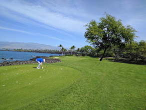 Photo: That's Jane at the tee at the South course of Mauna Lani resort.
