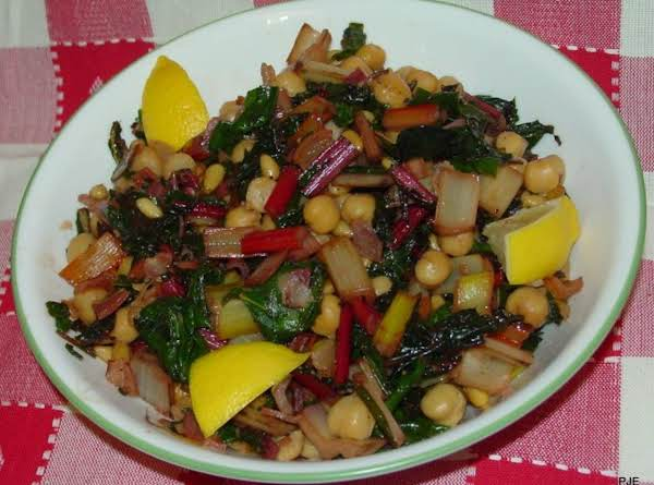 Swiss Chard With Garbanzo Beans And Pine Nuts Recipe
