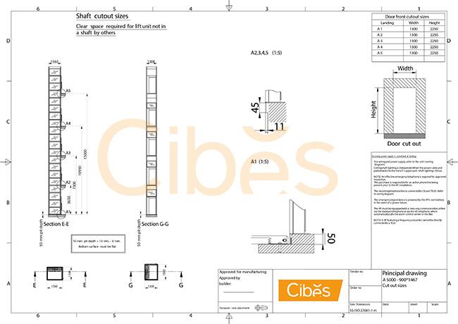Bản vẽ chính thiết kế mô hình thang máy Cibes A5000