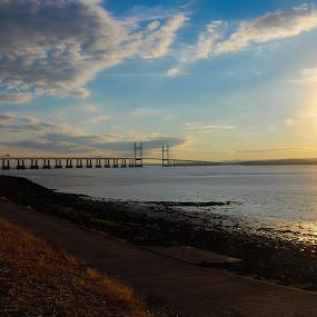 Severn Bridge by Tony Ripacandida - Landscapes Waterscapes ( blue sky, beach, sunset, bridge, clouds, water, sun, sea,  )