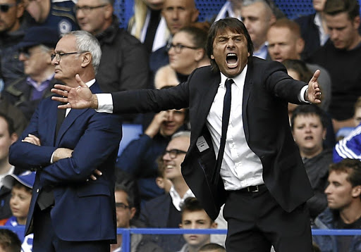 Leicester city manager Claudio Ranieri, left, looks calm while his Chelsea counterpart Antonio Conte seems ruffled in their most recent encounter in October. Picture: REUTERS