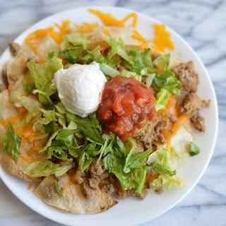 Healthier Turkey Nachos with Homemade Tortilla Chips.