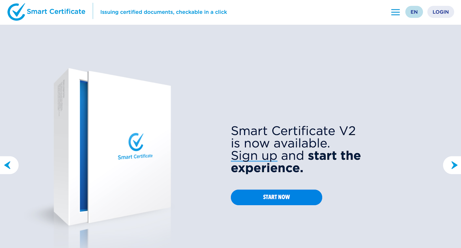 Smart Certificate screen