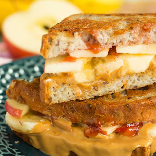 Grilled Peanut Butter Jelly Sandwich with Fruit