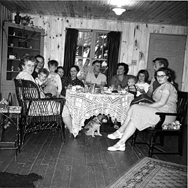 Photo: sc000a2eec —  Dad's Deer Hunting Lake Cottage about 1953 Grandpa Cy's Cottage  Left To Right Joyce, Don, Bruce, Donnie Delores _Mary_ Ted, Dorothy _Stevie_ Bonnie, Herb, Phyllis + Skippy (dog) (Balfour, Geneology)