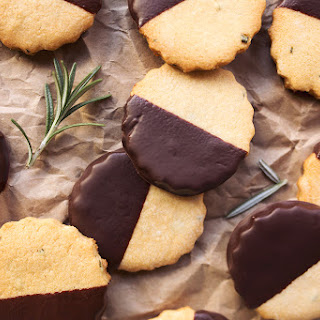 Dark Chocolate-Dipped Grain-free Rosemary Shortbread {gluten-free and paleo}