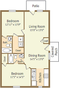 Go to Two Bed, Two Bath Garden E Floorplan page.