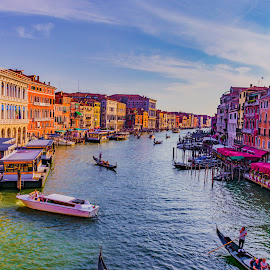 Busy waterway by Hariharan Venkatakrishnan - City,  Street & Park  Vistas ( gondola, waterscape, boats, venice, canal )